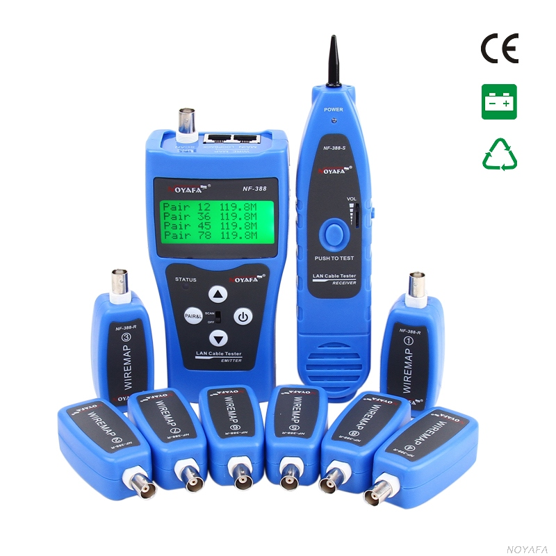Free Shipping NOYAFA NF-388 with 8 Remotes RJ45 RJ11 Wire Locator LCD Cable Finder RJ45 RJ11 BNC Cable цена