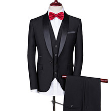 גברים חליפת חתונה חליפות גברים צעיף צווארון 3 חתיכות Slim Fit בורדו חליפת Mens רויאל כחול טוקסידו מעיל #292747