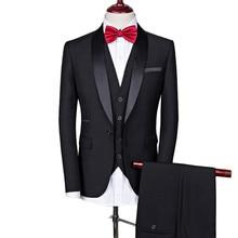 Abito da uomo abiti da sposa per uomo collo a scialle 3 pezzi abito Slim Fit bordeaux giacca da smoking blu Royal da uomo #292747