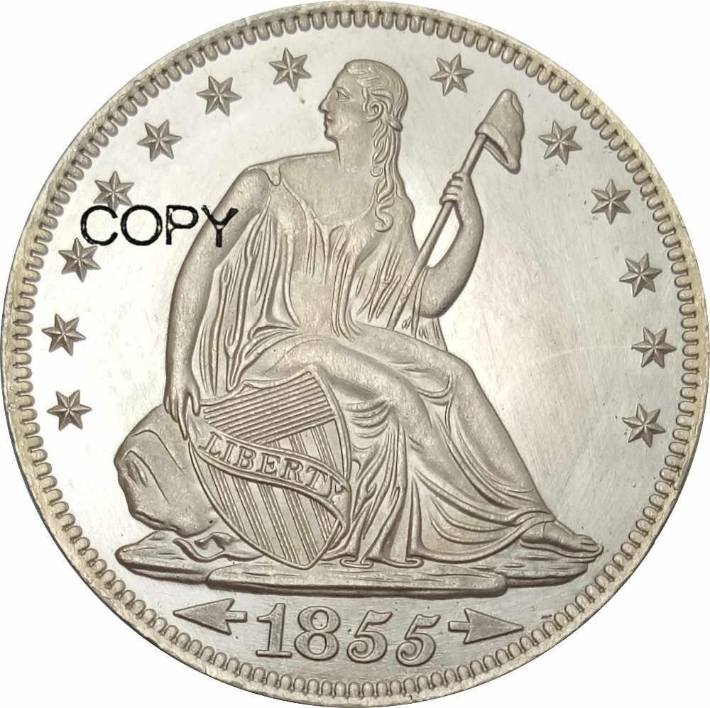 Hoa Kỳ Tự Do Ngồi Nửa Đô La năm 1855 Không Có Khẩu Hiệu Trên Đại Bàng Mũi Tên ở Ngày Không Tia Đồng Thau Mạ Bạc Sao Chép đồng xu