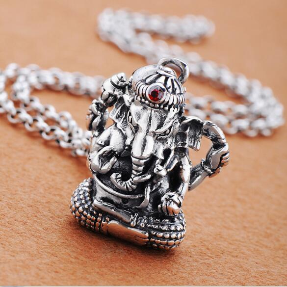 Handmade 100% 925 Silver Ganesh Buddha Pendant Necklace Silver Ganesa Wealth Buddha Necklace Elephant Buddha Amulet Necklace