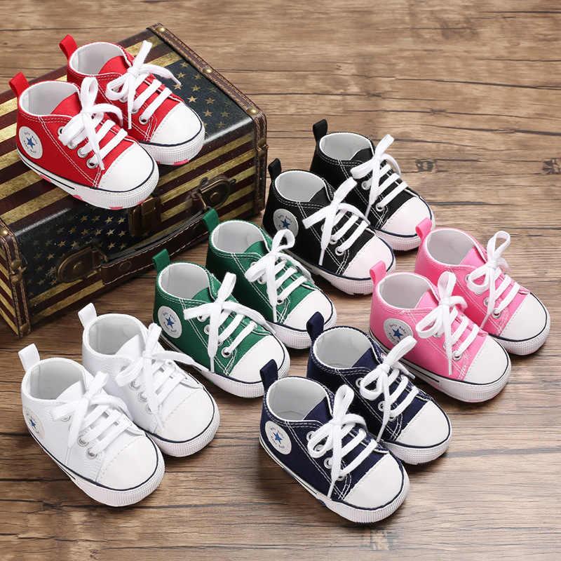 Nieuwe 6 kleuren Classic Casual Canvas Baby Schoenen Pasgeboren Sport Sneakers Eerste Wandelaars Kinderen Booties Kinderen Mocassins