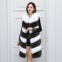 2017 nova moda temperamento costura cor imitação de pele colete de pele colete de pele de raposa fêmea Magro