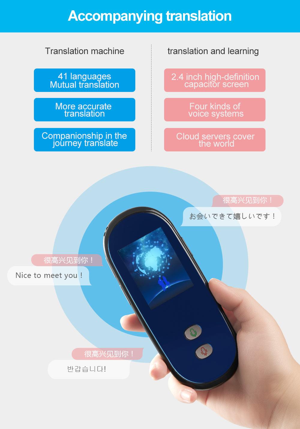 Portable Smart Voice Translator Real Time Multi-Language Translation For Learning Travelling Business multilingual interpreter (4)