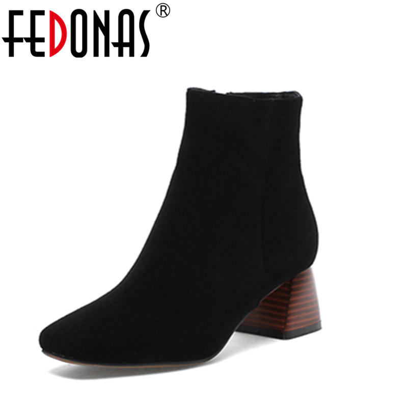 Фото FEDONAS Women Retro Style Genuine Leather Ankle Boots Sexy High Heels Zipper Sheepskin Martin Shoes For Woman Autumn Short Boots