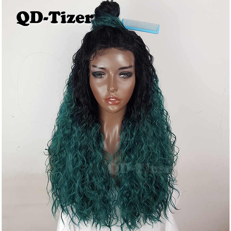 QD Tizer Synthetic Lace Front Wigs Bouncy Curly Dark Roots Ombre Long Hair Ombre Green Wig