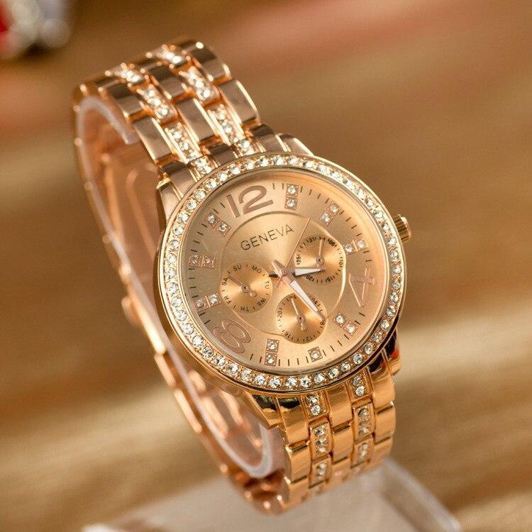 Горячие Продажа Роскошных Женева Марка Кристалл смотреть женщин дамы моды для мужчин платье кварцевые наручные часы Relogios Feminino ge001