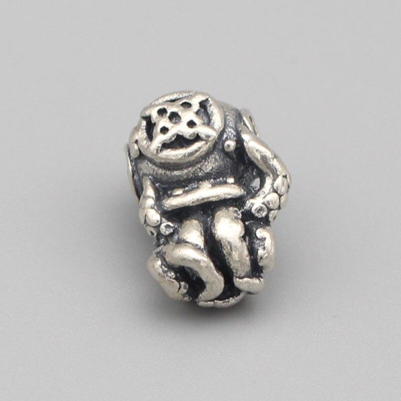 Vintage 925 perles en argent Sterling poulpe pendentif breloques s'adapte à la marque de bricolage européenne 3mm Troll Bracelet et collier bijoux - 2