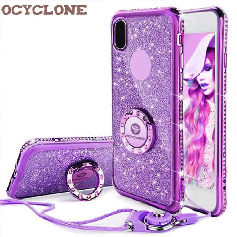 separation shoes 961ed 5c20a For IPhone 7 Case Ring Purple Bling Cover For Iphone X 6 6s 7 plus Diamond  Case I8 Glitter Cover For Iphone 8 plus Case Ring Red