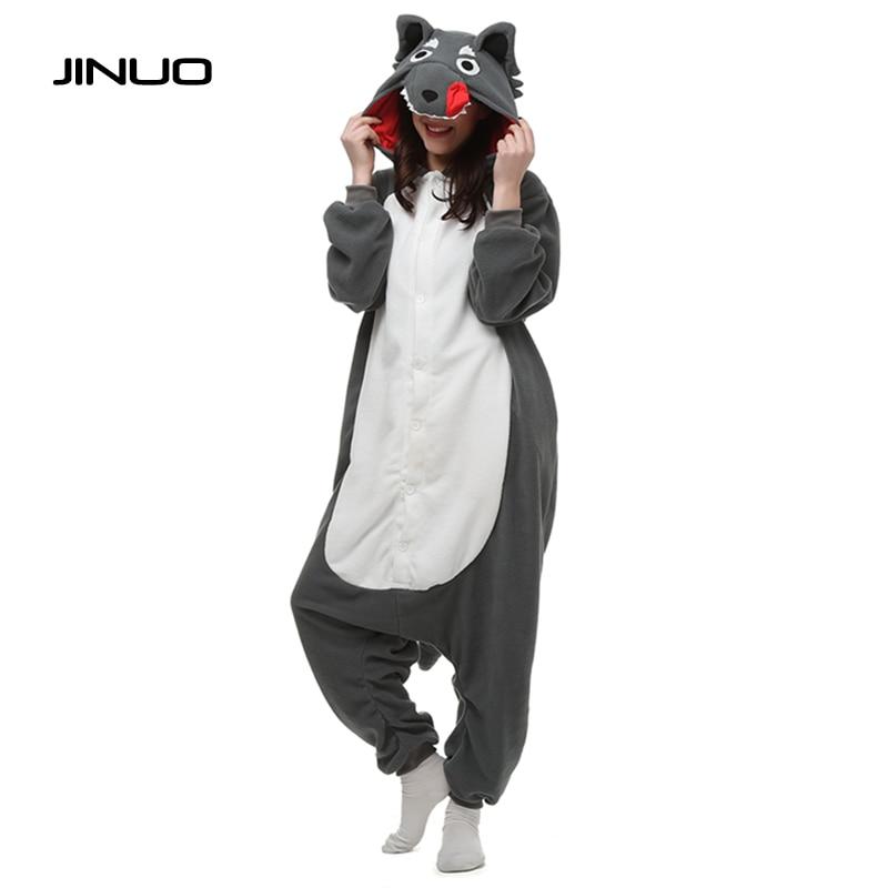 d7686140ba JINUO Animale Pigiama di Halloween Festa Di Natale Del Costume Carino Lupo  Grigio Big Wolf Tutina