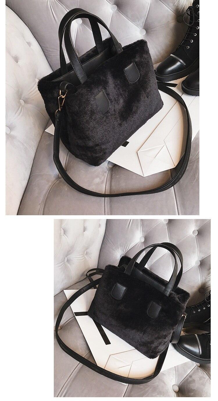7acb5130d8 Winter Women Faux Fur PU Leather Shoulder Bags Top-Handle Bag Female  Fashion Hairy Designer Handbag Flap Bag Plush Crossbody Bag. 1 2 3 4 5 6 ...