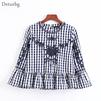 Deturbg Sweet Floral Embroidered Crop Tops Girls Casual 3 4 Flare Sleeve Ruffled Plaid Blouse Shirts