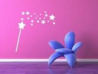 Czarodziejska Różdżka Gwiazdy Wall Stickers Dla Dzieci Pokoje Winylu Przedszkola księżniczka Dziewczyny Home Wymienny Kalkomania Ścienna Fairy Wand Trzymać Sztuki SYY628