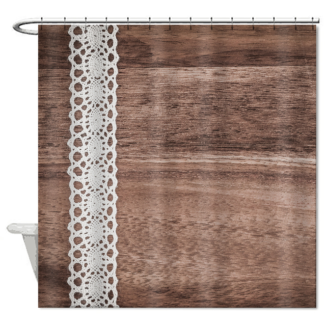 Custom Printed Polyester Fabric Modern Shower Curtain Waterproof Retro Vintage Bathroom Bath Unique Brown Curtains High