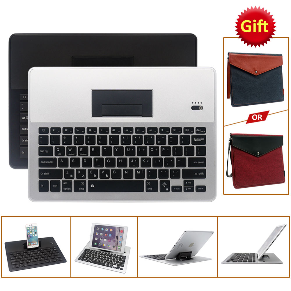 Universal Bluetooth Keyboard with Bag For 4.7-12.9 inch Tablet PC Black and Silver Color universal 61 key bluetooth keyboard w pu leather case for 7 8 tablet pc black