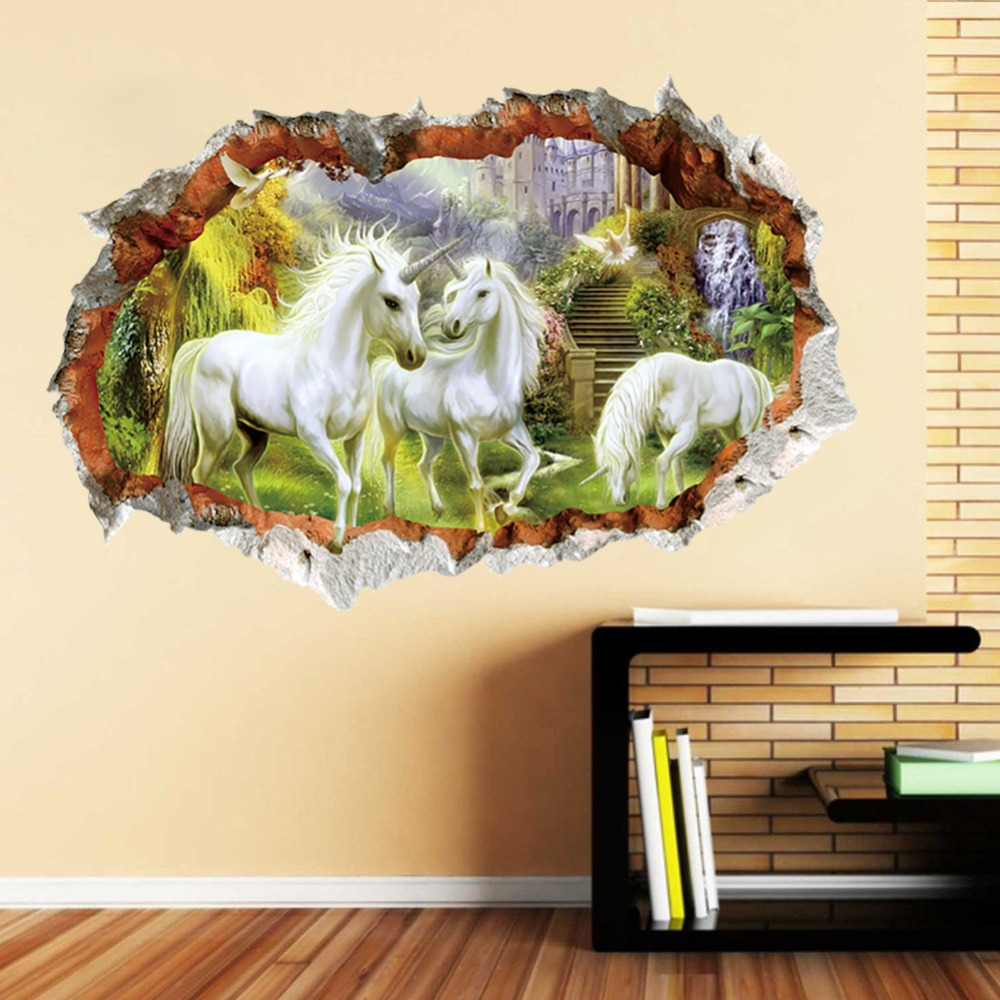 Horse sticker wall art - 3d Effect White Horse Wall Sticker Bedroom Living Room Tv Sofa Background Animal Home Decor Wall Decals Art Mural Gift