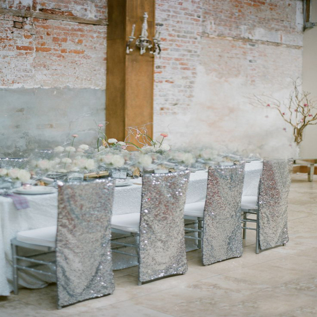 Chair Back Covers Wedding 135 Degree 100pcs Sparkly Rose Gold Full Blush Glitter Sparkle Sequin Sequined Fancy Bride Groom Seating