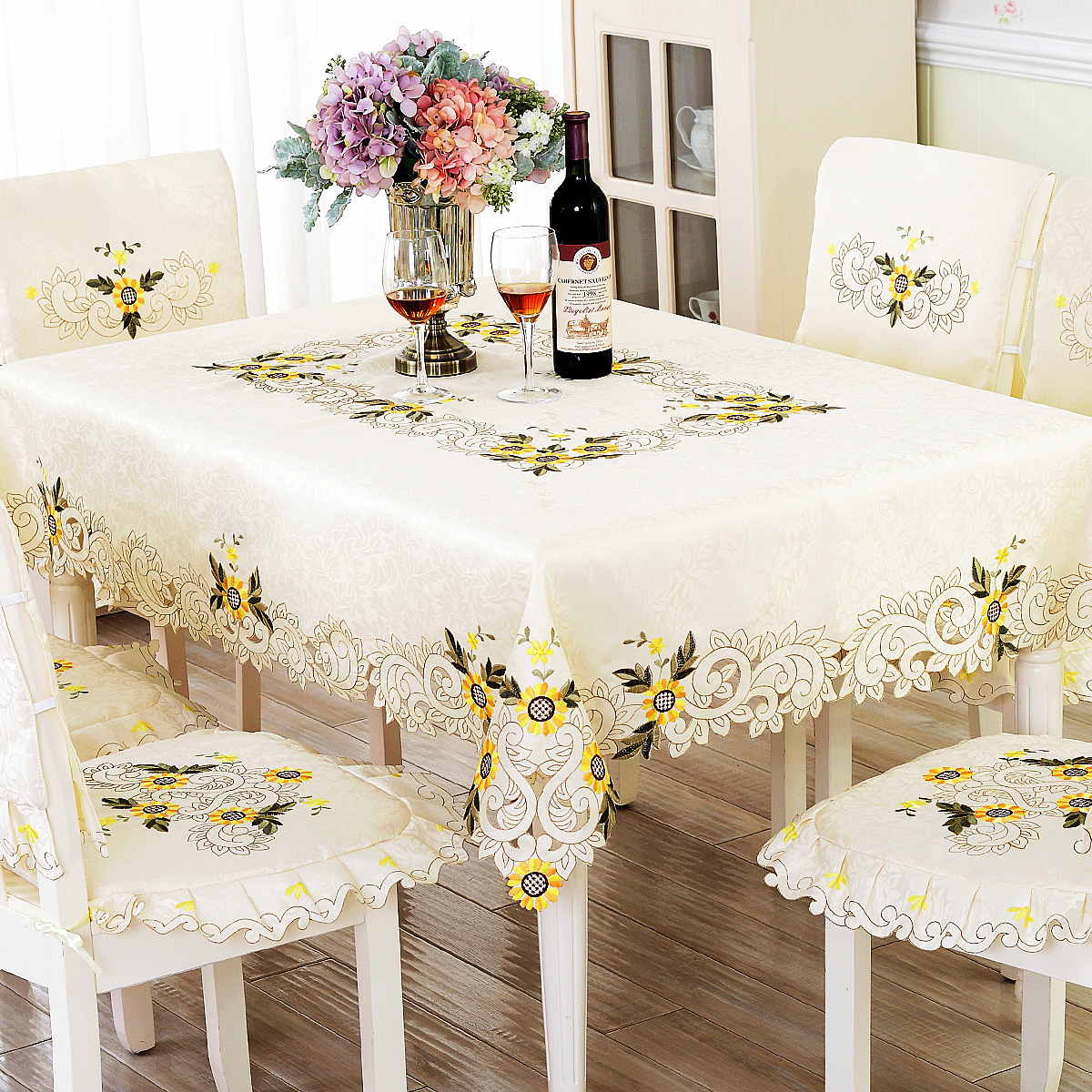 Wedding Chair Covers Alibaba Lumbar Back Support For Europe Embroidery Table Cloth Sunflower Lace Dinner