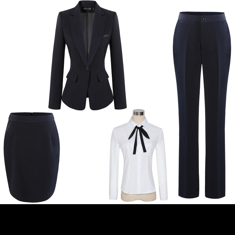 Womens Office Suits Ladies Professional Trousers Suit Set Four-piece Female Interview Workwear Slim Single Breasted