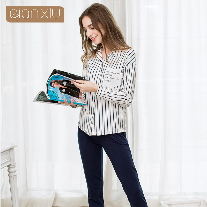b71b87fc1d Qianxiu Real Sale Solid Cotton Pajamas Ladies Pyjamas Women Cotton Striped  Homedress Spring Letter Print Pajama Sets 17114-in Pajama Sets from Women s  ...