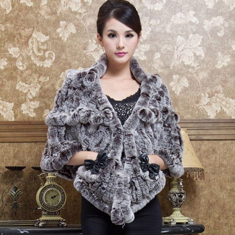 2018 new arrival winter rex rabbit fur shawl wraps for women natural rex fur knitted capes femme elegant winter warm pashminas