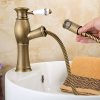 Antique Pull Type Ceramic Water Tap Copper Wash Basin Single Handle Faucet With Shower Shampoo Retro Basin Tap