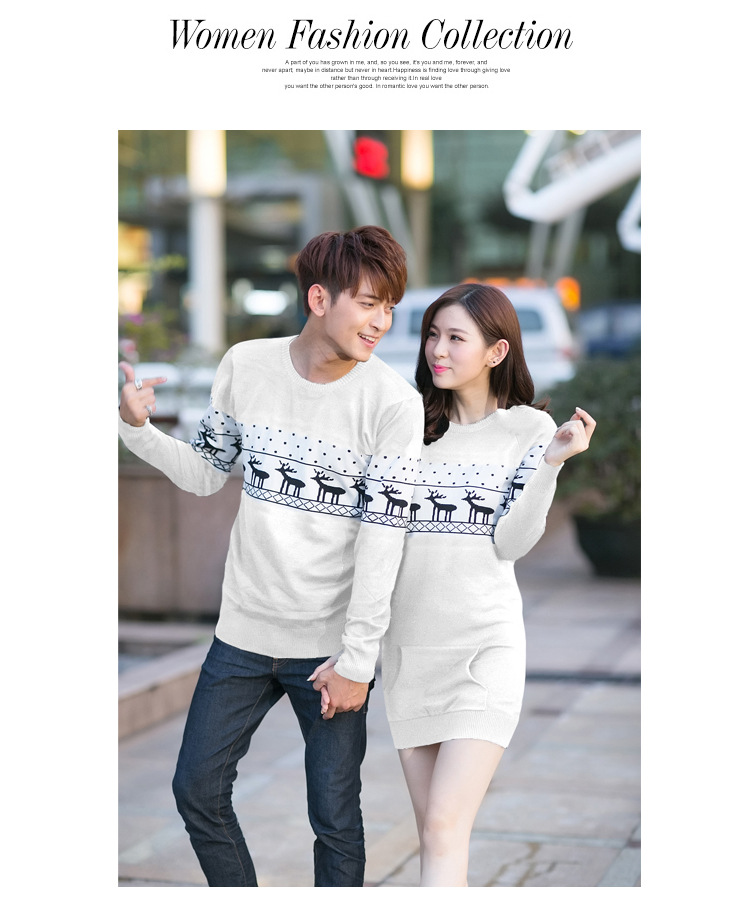 Smthma 2019 Winter Runway Men's /women Long Sleeve Wine Red  Pullovers Matching Deer Couple Christmas New Year Sweaters #4