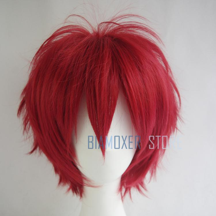 Dark Red cosplay wig short hairpiece Naruto Akasuna no Sasori Cosplay wigs headband hall ...