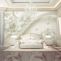 Custom Home Decor Wall Papers Modern 3d White Floral Silk Photo Murals Living Room Bedroom Silk