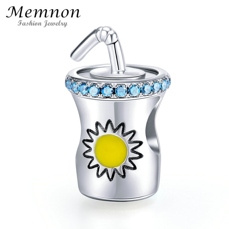 Memnon jewelry Summer Collection 100% 925 Sterling Silver Cold Drink Cup Bottle charms fit beads Bracelets Necklaces DIY BE673