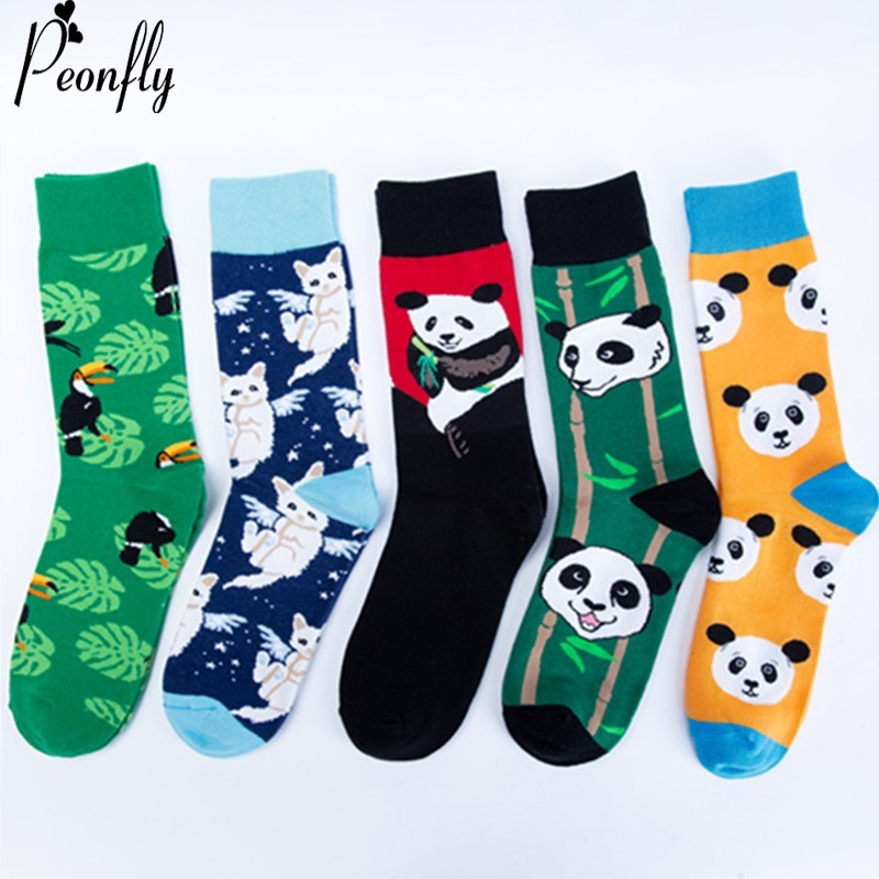 PEONFLY Fashion Print Chinese Panda White Cat Bird Pattern Colorful Happy Socks Men Casual Ventilation Cotton Sock Autumn Winter