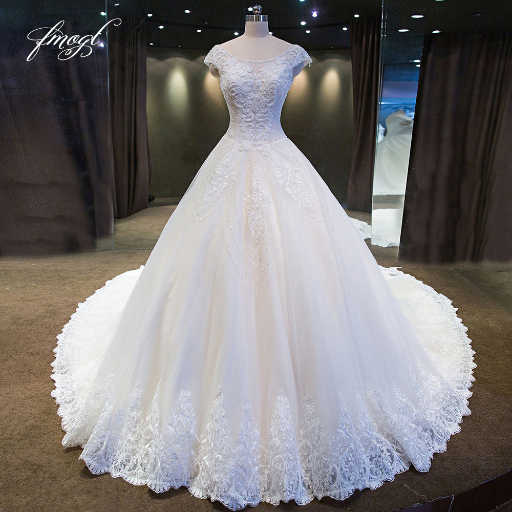 Fmogl Vestido De Noiva Lace Ball Gown Wedding Dresses 2019 Luxury Scoop Neck Appliques Beaded Pattern Tulle Bride Gowns