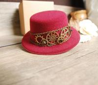 Vintage Steampunk Mini Top Hat Red Halloween Fancy Dress Custume Hats With Gears Chain Accessories