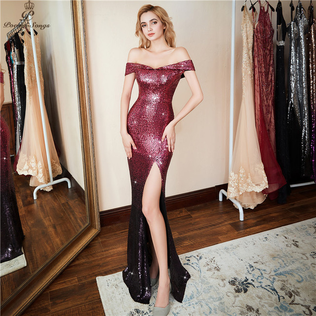Poems Songs 2019 Formal Side Slit Evening Dress vestido de festa longo Sexy Luxury Red Long Sequin robe longue gown bride