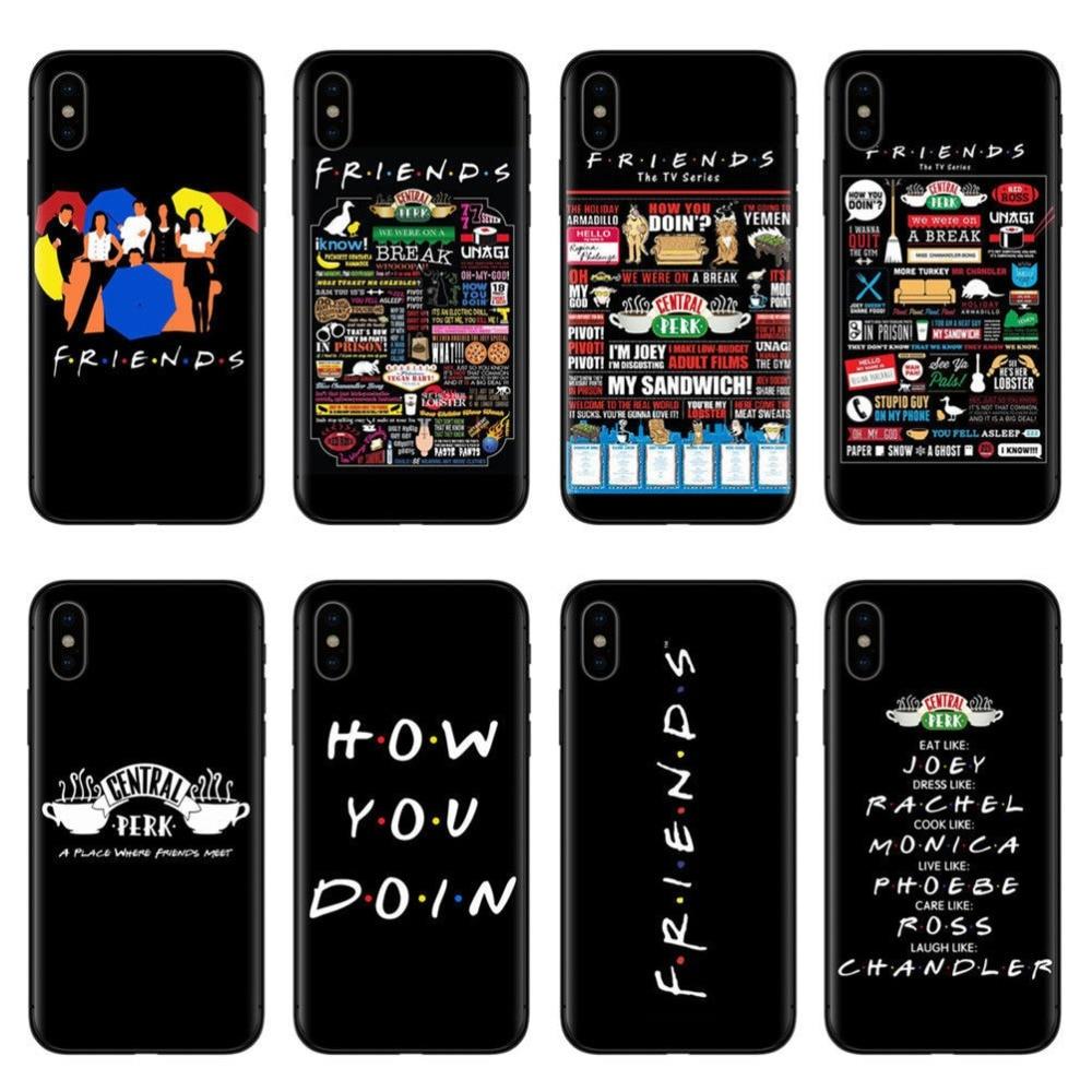 "Central perk Kaffe med helterne i tv-serien ""Friends"", hvordan har du det? Sort silikone telefon cover til iPhone X XUMUM 5S SE, 5, 6 Plus, 6, 7 Plus,"