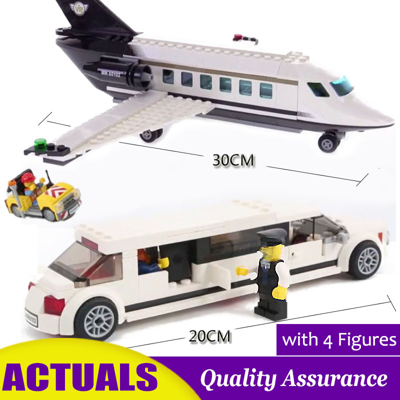 Smart 02044 City Airport Vip Service Private Plane Building Blocks Model Bricks Educational Toys Compatible With Lego 60102 Set Model Building