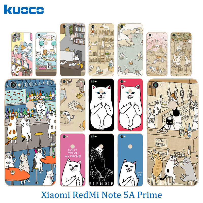 "For Xiaomi Redmi Note 5A Prime Fingerprint Cases Silicone Cats Family Pattern 5.5"" Phone Cases for Hongmi Note 5A Pro Cover"