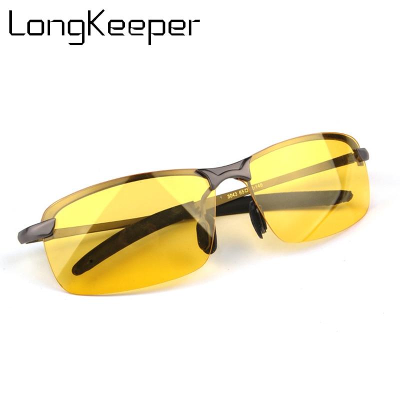 08cf5c3608 Night Vision Sunglasses Rimless Rectangle Polarized Goggles Anti-Glare Sun glasses  Metal Frame Driving Sunglasses