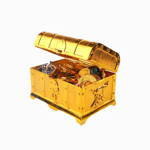 Chest-Toys Party-Decorations Gold-Coins Pirate for Kids Gems Treasure Boxsimulation And