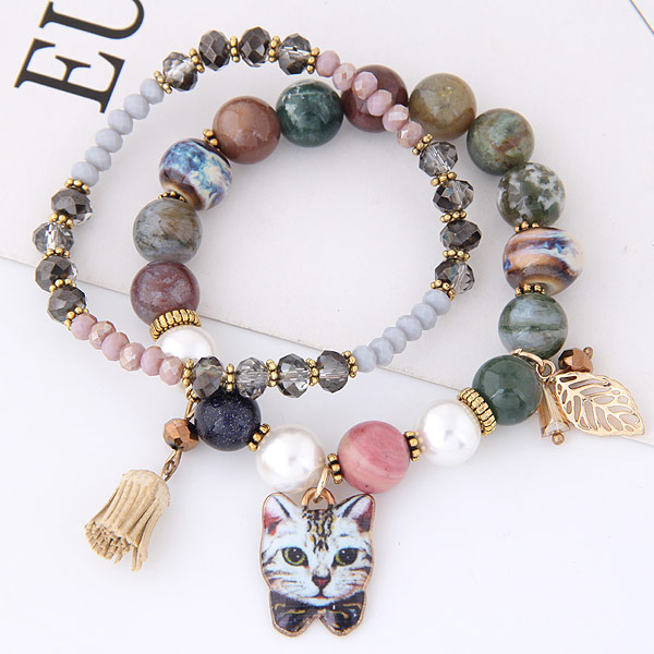 Sweet Multilayer Cat Charm Bracelet Crystal Ceramics Animal Bracelets For Women 2017 Christmas Gift In Strand From Jewelry Accessories On