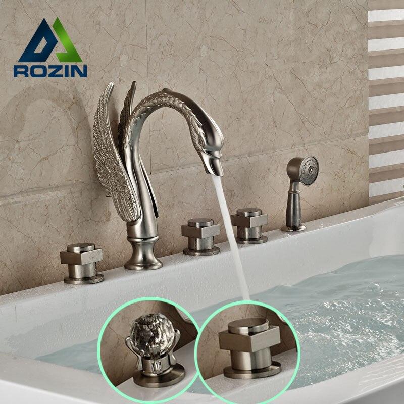 Widespread Swan Shape Bathtub Mixer Faucet 5 Holes Brushed