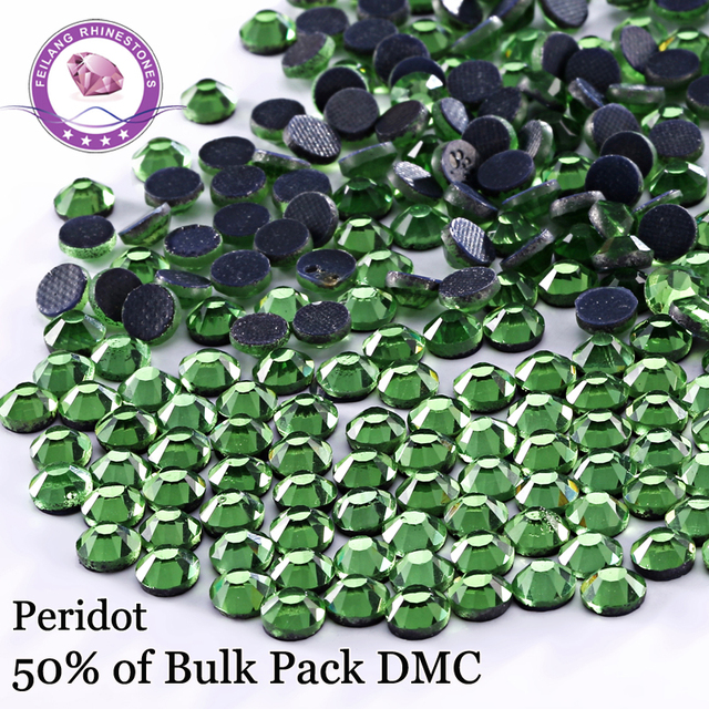 Free Shipping ! High Quality Peridot DMC Hotfix Rhinestones / Iron On Flatback Cystals  For Dresses Accessories DIY Decoration