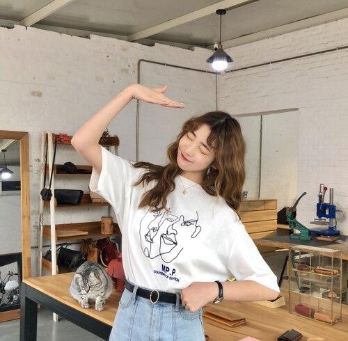 Baumwolle einfache neue mode nette charakter gedruckt lose hals kurzarm weibliche t-shirts