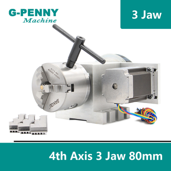 3 Jaw 80mm chuck CNC 4th Axis CNC dividing head/Rotation 6:1 A axis  for Mini CNC router/engraver woodworking engraving machine cnc 4th 5th axis rotary table diy cnc machine milling router parts b axis rotation axis for cnc engraving machine