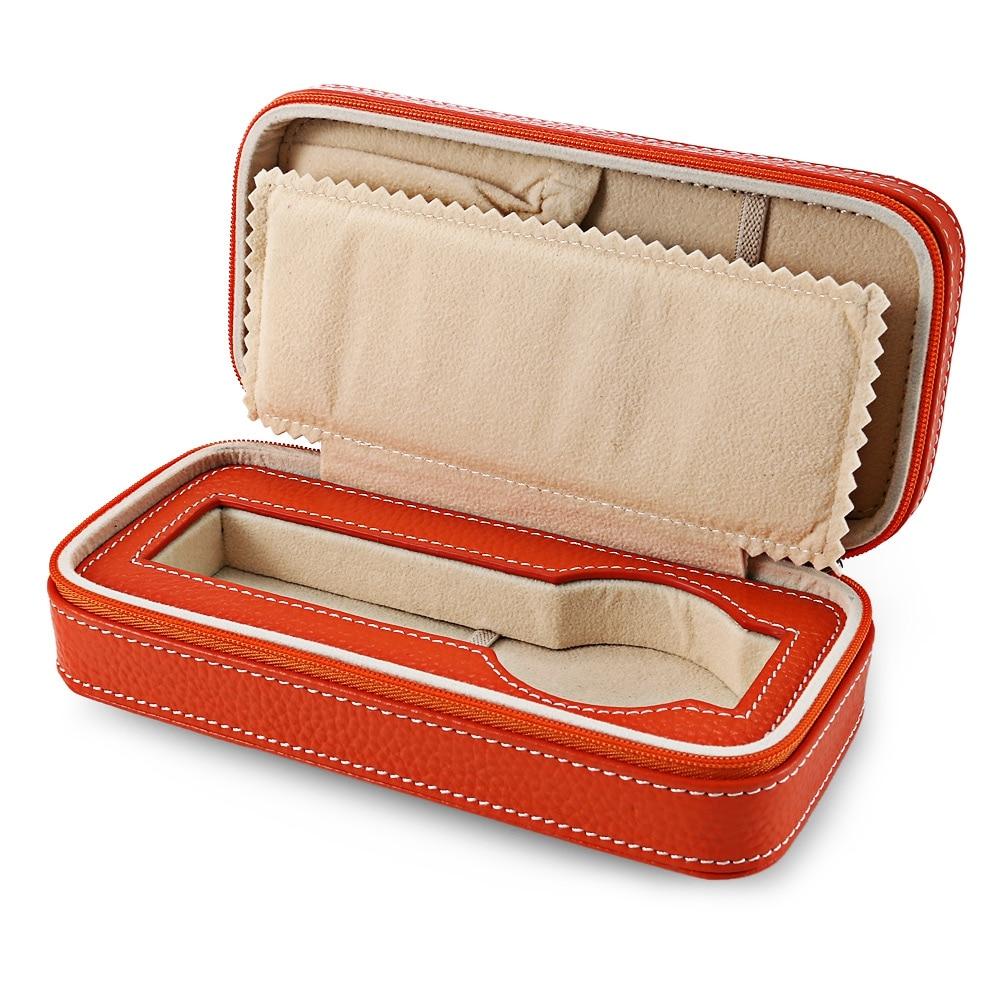 1 Slot Zippered Travel Watch Box Genuine Leather Storage Case Jewelry Card Organizer Orange