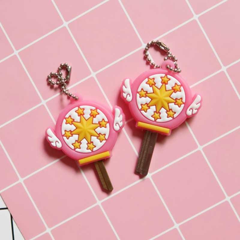 Funda de llave japonesa de Anime Sailor Moon, llaveros Kawaii de dibujos animados, llaveros de silicona, cubre llavero de cosplay de goma