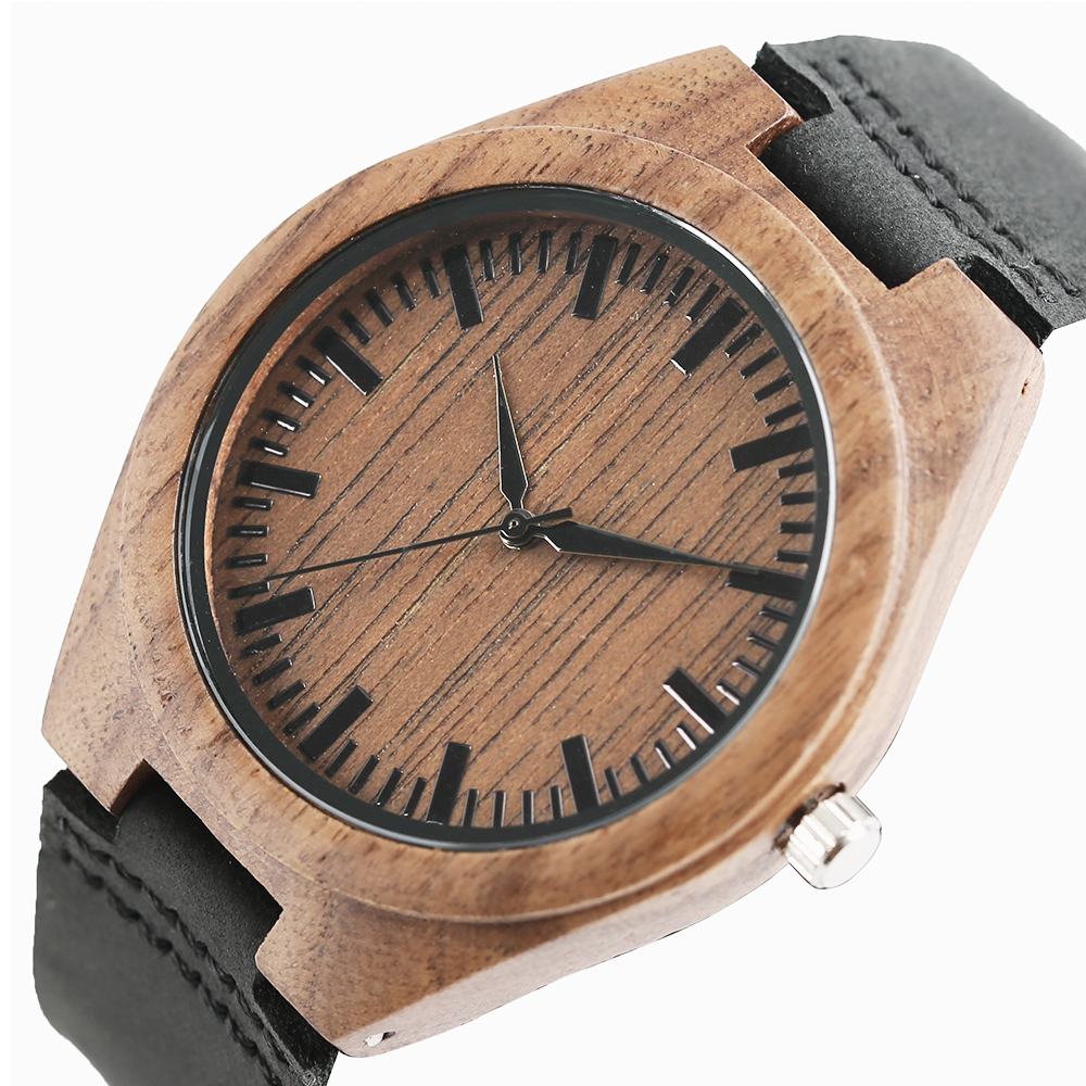 Wood Watches Bangle for Men Women Nature Handmade Wood Wrists Quartz Analog Black Leather Strap herenhorloges mannen Male Clock favourite 1602 1f