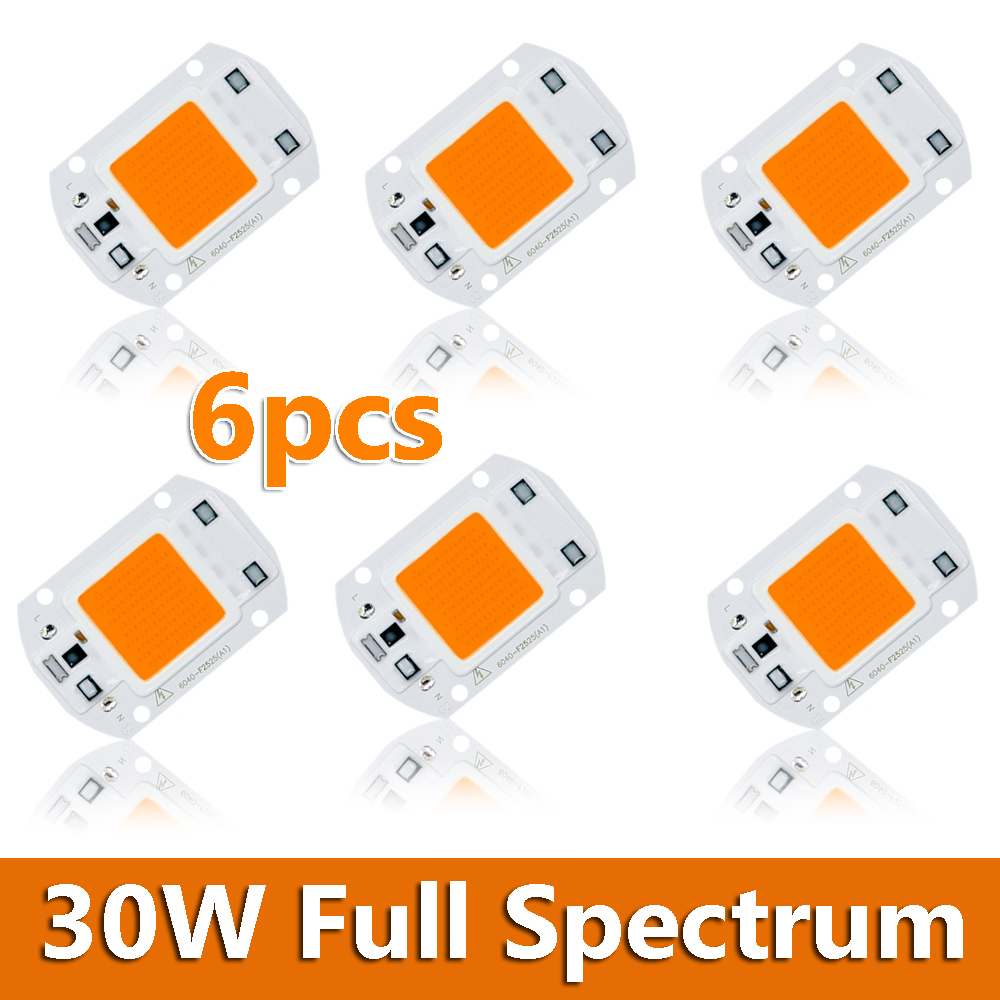 6pcs Genuine 30W ( Driverless Driver Free ) Full Spectrum COB LED Chip High Power 220V Lamp DIY for Indoor Plants Grow Light