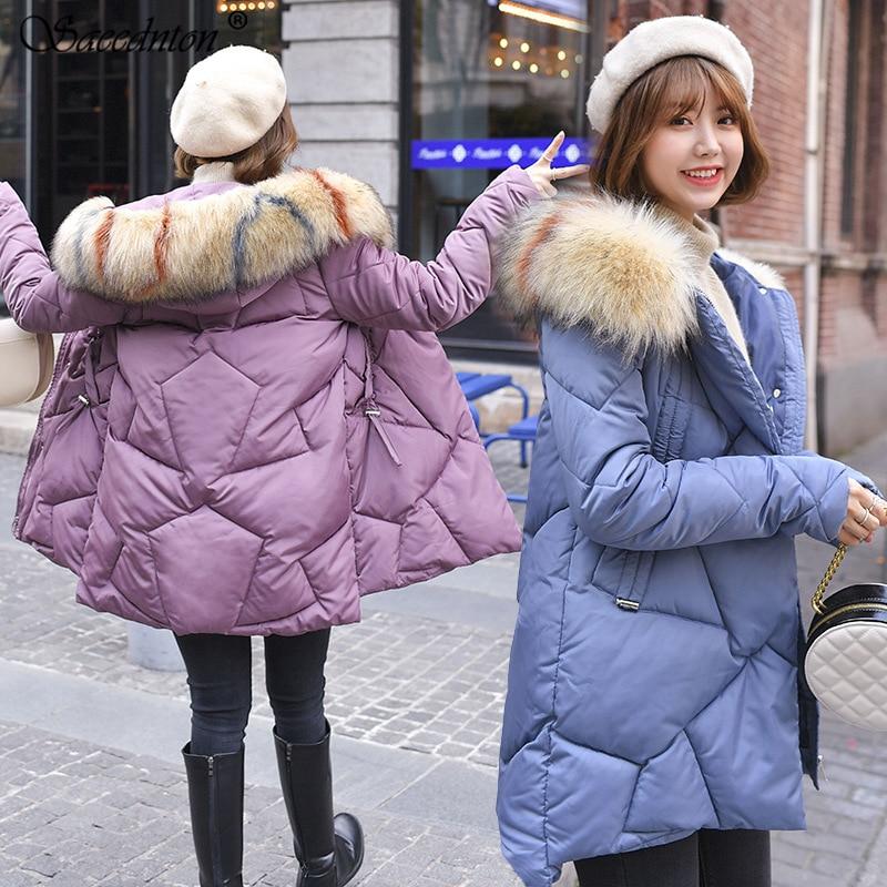 Big Fur Winter Coat Thickened Parka Women Stitching Slim Long Winter Coat Down Cotton Ladies Down Parka Down Jacket Women 2019 in Parkas from Women 39 s Clothing