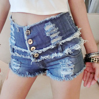 2017 New Summer Women S High Waist Denim Shorts Blue Color Sexy Nightclub Bar Spice Girl